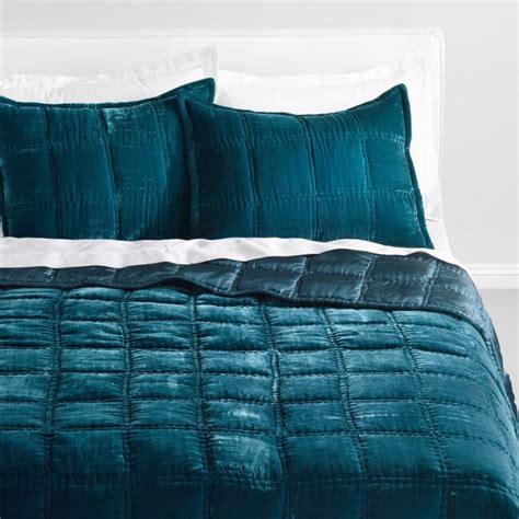 Atlantic Blue Luxe Velvet Quilt   World Market