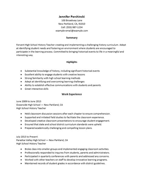 Adobe Pdf Resume Template by Free High School Resume Template Sle Ms Word