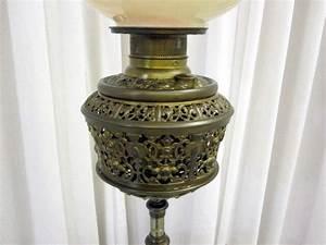 antique brass piano oil kerosene floor lamp w marble for With antique brass oil floor lamp