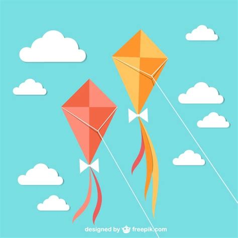 Flying Kites With Sky Vector  Free Download