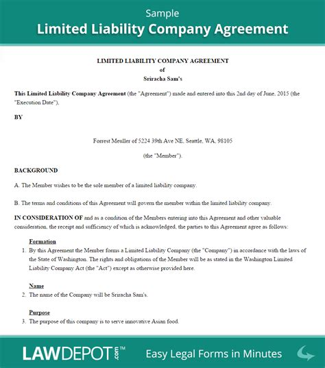 llc operating agreement template  lawdepot