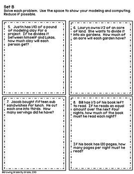 dividing fractions word problems  growing grade  grade
