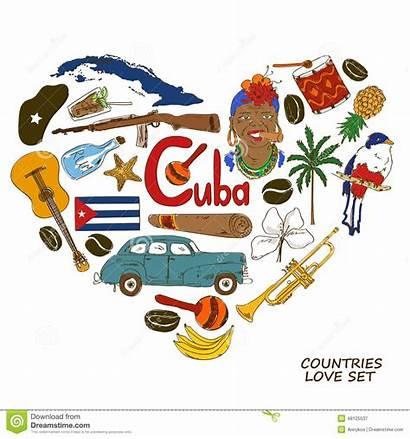 Cuban Symbols Heart Shape Concept Travel Background