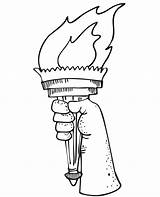 Liberty Torch Statue Clipart Drawing Coloring Flame Patriotic Cartoon Pages Clip Colouring Battery Symbols Cliparts Line Draw Library Becuo Operated sketch template