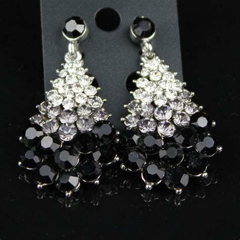 black chandelier earrings with crystals black chandelier earrings ebay