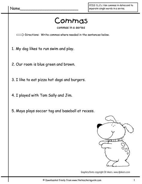 commas in a series grammar worksheets