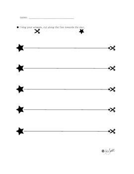 cutting along the lines beginning motor skills worksheets