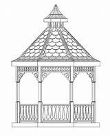 Gazebo Garden Drawing sketch template