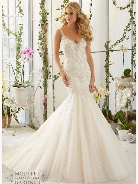 Mori Lee 2823 V Neck Tulle Mermaid Bridal Dress