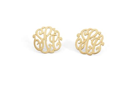 classic monogram earrings love   stephanie diaz