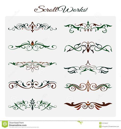 scroll works design ornamental decorative element stock