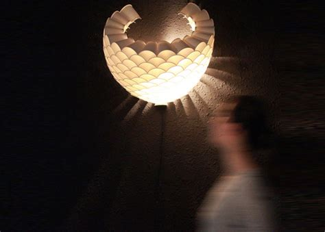 rays recycled paper cup lamp   glowing honeycomb