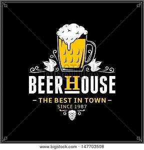 Vector white and yellow vintage beer house logo stock for Beer logo creator