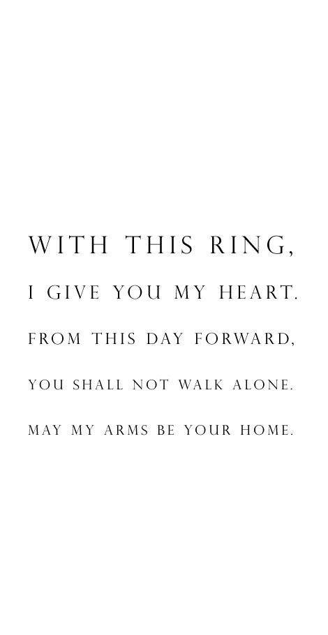 wedding vow idea   ring  give   heart