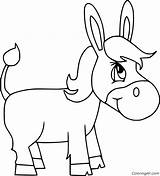 Donkey Coloring Cartoon Simple Funny Easy Running Coloringall Printable Horse Mammal Vector sketch template