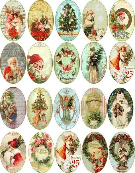 christmas  vintage pictures oval stickers scrapbooking
