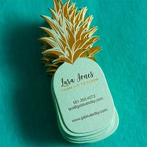 Pineapple shaped business cards produced with letterpress for Pineapple business cards