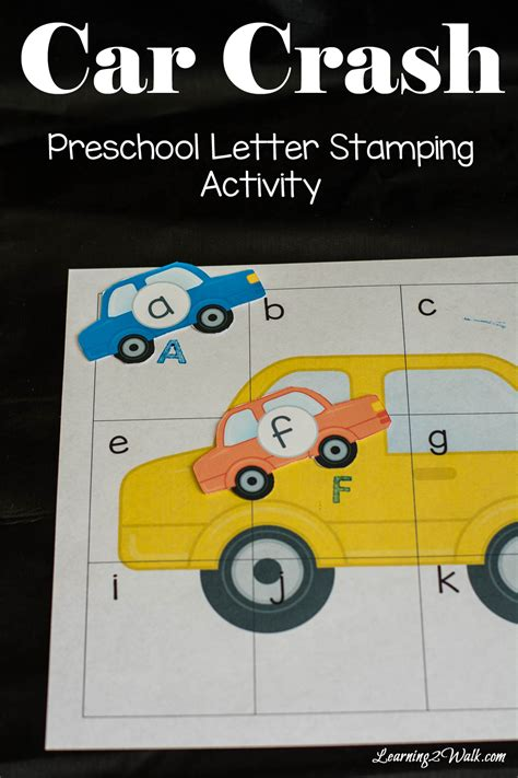 car crash preschool letter stamping activity 269 | I am convinced that to make any preschool letter activity fun for my kids all i have to do is add stamps as well as cars pin