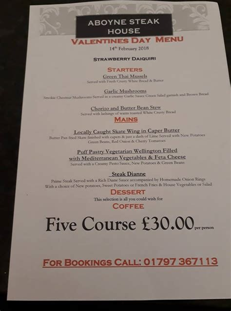 No Automatic Alt Text Available Aboyne Steakhouse Home New Romney Menu Prices