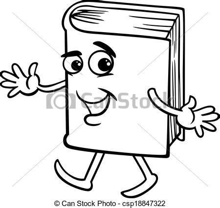 book cartoon coloring page black  white cartoon