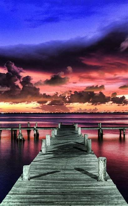Sunset Purple Beach Wallpapers Android Landscapes Deck