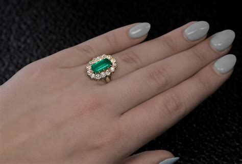 Antique Emerald Diamond Gold Engagement Ring