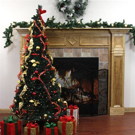 pre decorated trees walmart 6 pre lit pop up decorated gold artificial