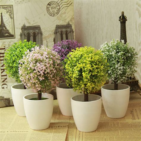 artificial topiary tree plants in pot colorful