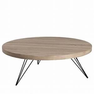 Table Ronde Grise : table basse ronde ch ne gris liana univers du salon ~ Teatrodelosmanantiales.com Idées de Décoration