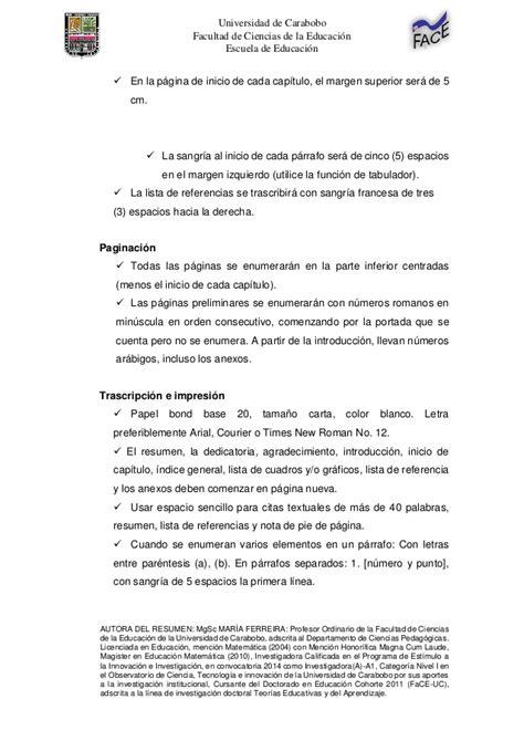Normas Apa 2014 Para Resumen by Resumen De Las Normas Apa Uc