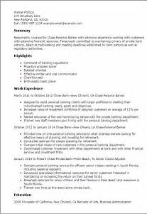 Job Resume Personal Banker Resume Job Description Entry