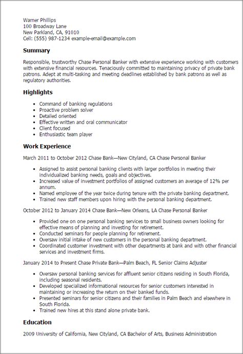Banker Resume Objective by Professional Personal Banker Templates To Showcase Your Talent Myperfectresume