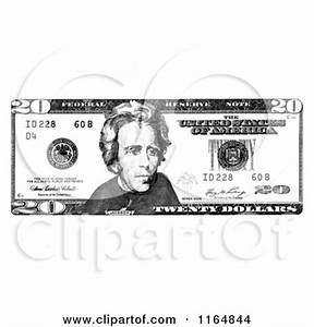 Clipart of a Black and White Twenty Dollar Bill - Royalty ...