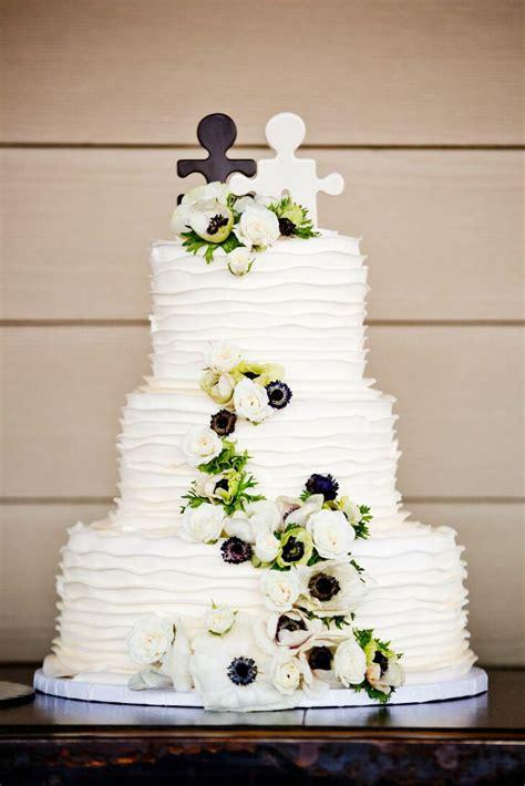 black  white puzzle piece wedding cake topper