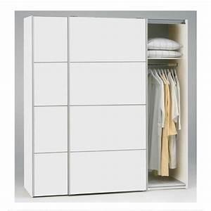 Armoire Dressing Blanche : teen armoire 2 portes coulissantes 180cm blanc achat ~ Premium-room.com Idées de Décoration