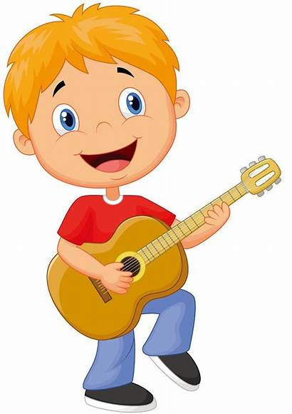Guitar Playing Boy Clipart Cartoon Illustration Play