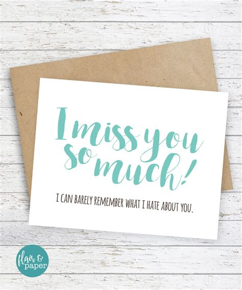 Cute cards that you can easily print out and send to the people you're missing during this social simply download the card template in jpg or pdf, print it out at home or at a print shop, cut it out. I miss you Card Boyfriend Card Funny Cards Funny I miss you card Snarky sassy card Funny Cards ...