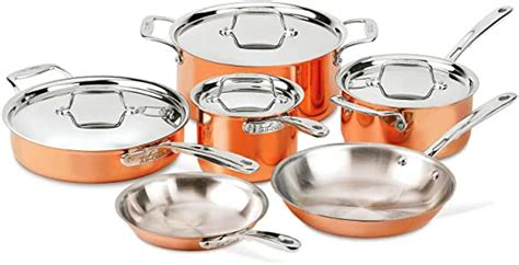 clad copper   piece cookware set amazonca home kitchen