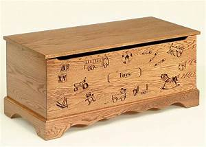 Amish Made Oak Wood Toy Chest with Carving and Optional