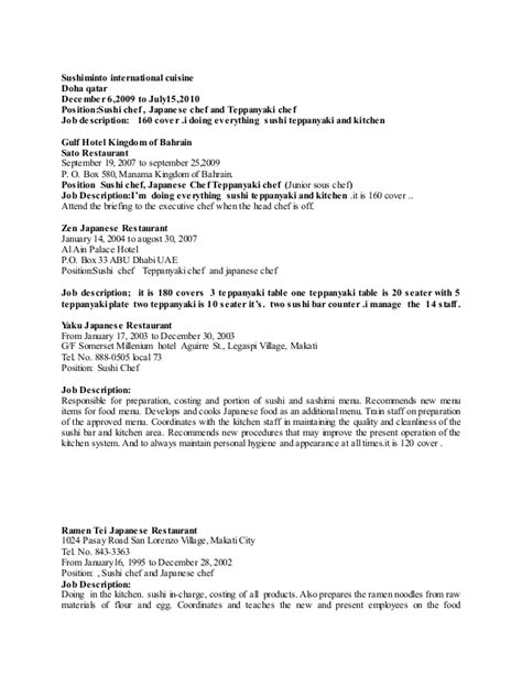 Sushi Chef Resume Template by Japanese Chef Resume Copy