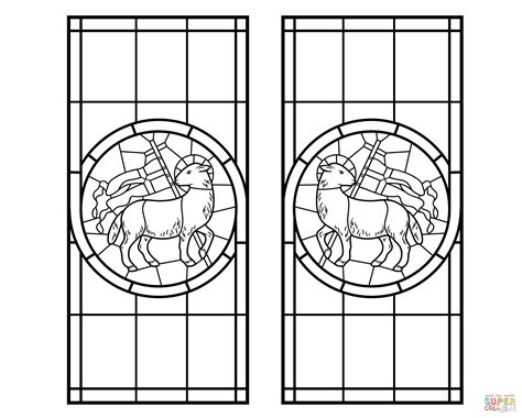 Lamb With Cross Stained Glass Coloring Page Free