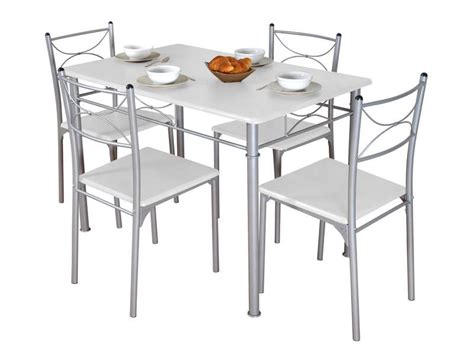ensemble table chaises cuisine ensemble table rectangulaire 4 chaises tuti coloris blanc gris vente de ensemble table et