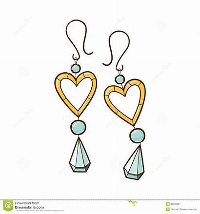 Clipart Earrings Vector Hearts Sketch Cliparts Clipground
