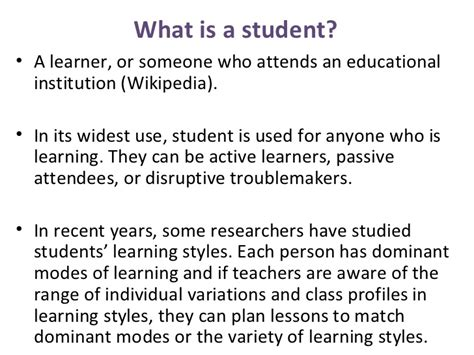 Students' Roles  What Is Teaching To Me?