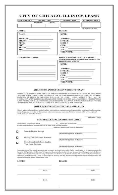 Apartment Lease Chicago by Free Illinois Chicago Only Residential Lease Agreement