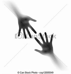 EPS Vector of Two open hands in the mist. Illustration on ...