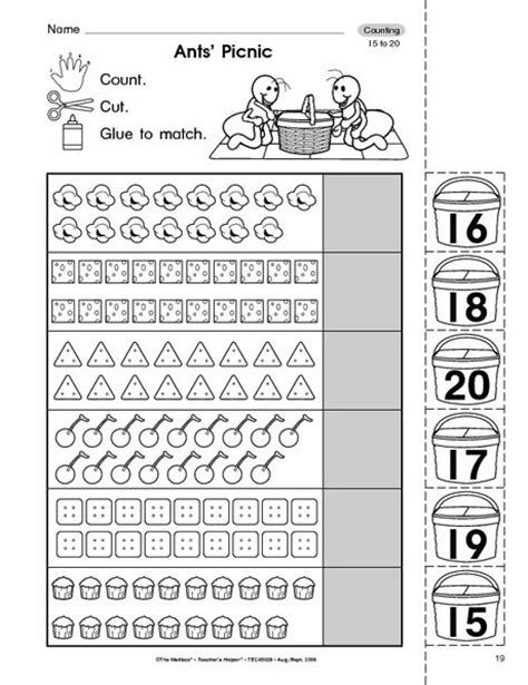 Counting To 20 Worksheets For Preschoolers  Paperclip Counting 1 20 Free Printable Fine Number