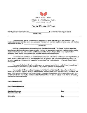 esthetician forms fillable esthetician facial consent form edit online