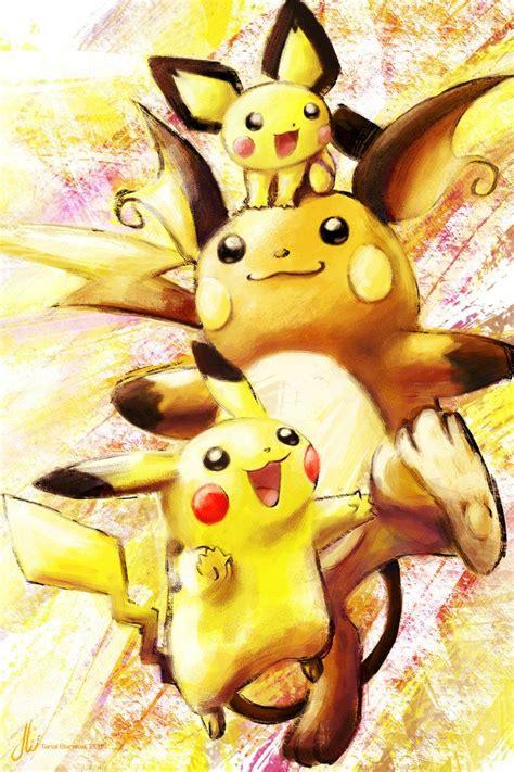 pichu pikachu  raichu  xoaba pokemon arte