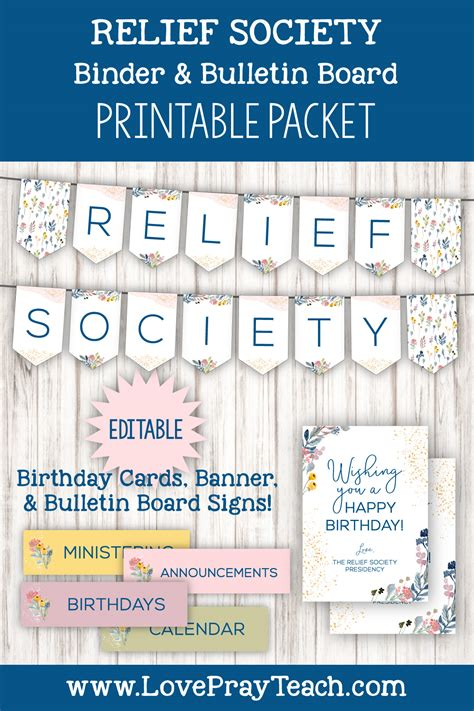 relief society binder  bulletin board packet
